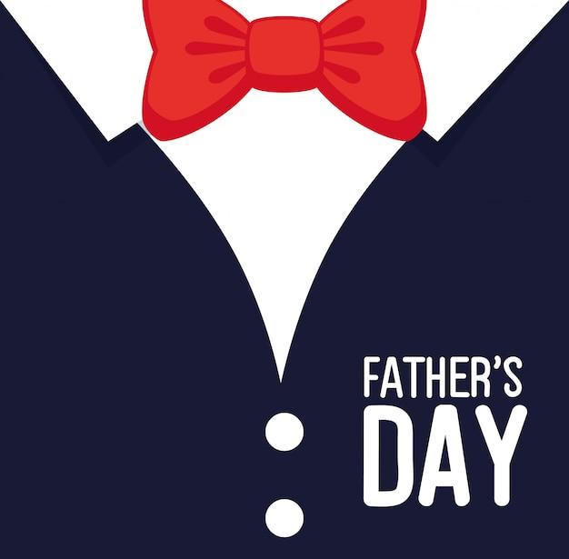 Gelukkige vaders dag kaart met overhemd en strikje