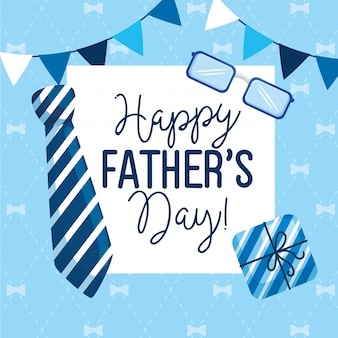 Gelukkige vaders dag kaart met slingers opknoping en decoratie