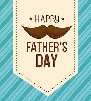 Gelukkige vaders dag kaart met snor decoratie