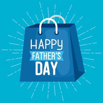 Gelukkige vaders dag kaart met tas winkelen
