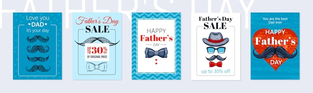 Gelukkige vaders dag poster set.