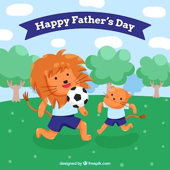 Gelukkige vaders dagachtergrond met leuke dieren die voetbal spelen