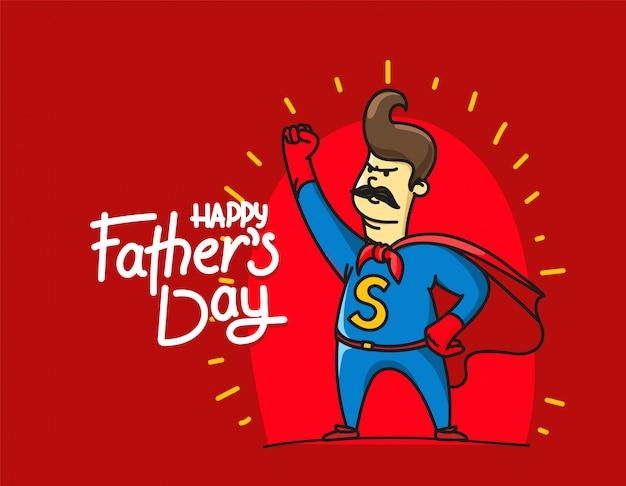 Gelukkige vadersdag met papa super held