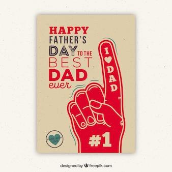 Gelukkige vadersdag retro groet met de hand