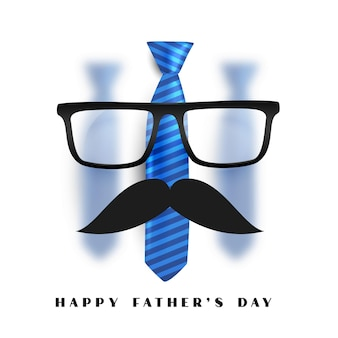 Gelukkige vadersdagkaart met glazen snor en stropdas
