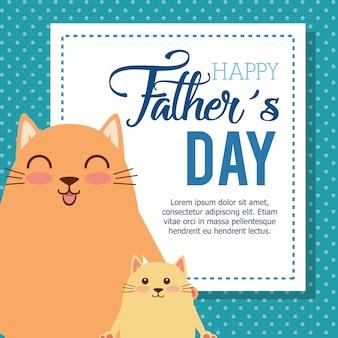 Gelukkige vadersdagkaart met ontwerp van de katten het vectorillustratie