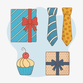 Gelukkige vadersdagkaart met vastgestelde elementen