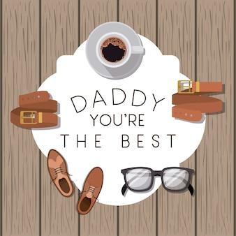 Gelukkige vadersdagkaart met vastgestelde toebehoren
