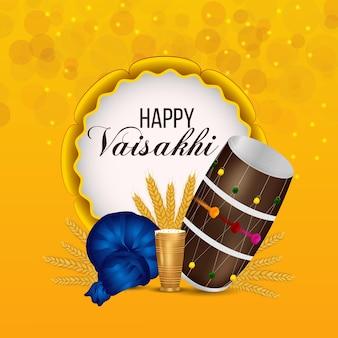 Gelukkige vaisakhi indische sikh festival achtergrond