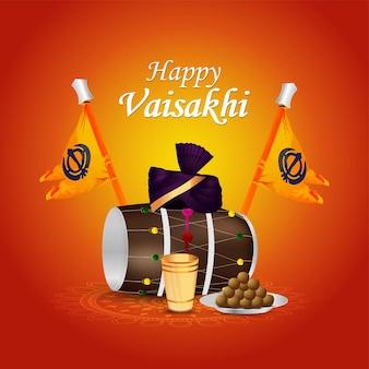 Gelukkige vaisakhi sikh festival illustratie viering