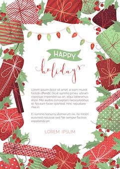 Gelukkige vakantie verticale achtergrond. merry christmas ontwerpsjabloon