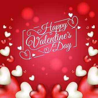 Gelukkige valentijnsdag belettering met realistische harten illustratie ontwerp