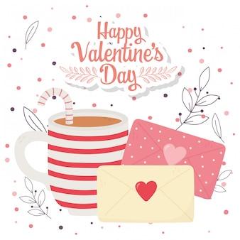 Gelukkige valentijnsdag, cup chocolade enveloppen brief gebladerte en stippen achtergrond