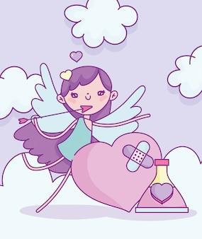 Gelukkige valentijnsdag, cupido met droevig hart en flessendrankje liefde vectorillustratie