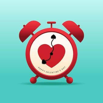 Gelukkige valentijnsdag decoratief met hart en wekker