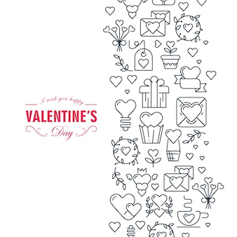 Gelukkige valentijnsdag decoratieve kaart met wensen wees gelukkig en veel symbolen zoals hart, lint, envelop, cadeau-illustratie
