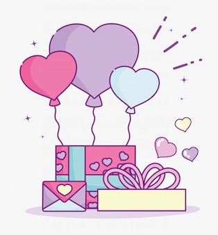 Gelukkige valentijnsdag, geschenkdoos met ballonnen en envelop brief liefde vector illustratie