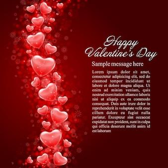 Gelukkige valentijnsdag glanzende harten achtergrond