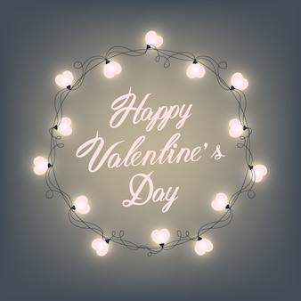 Gelukkige valentijnsdag hand lettering - typografische achtergrond. vector retro licht teken. hart vorm. decoratieve feestelijke hartvormige bollen lichten krans. holiday garland.