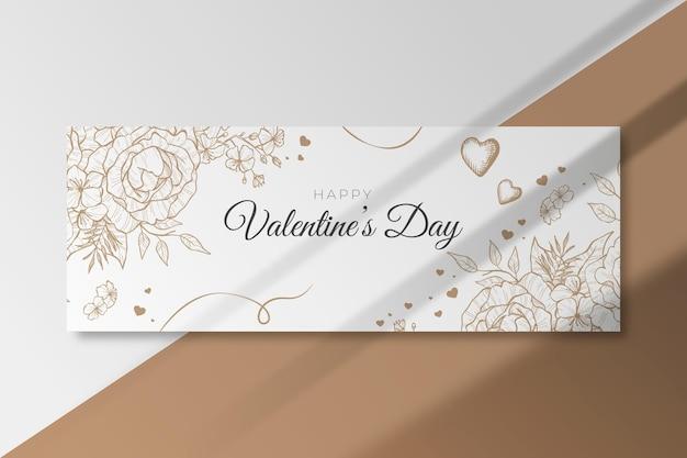 Gelukkige valentijnsdag horizontale banner