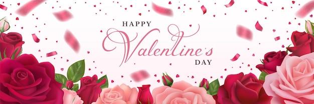Gelukkige valentijnsdag horizontale wenskaart met roze en rode rozen.