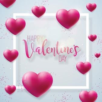 Gelukkige valentijnsdag illustratie met rode haard op glanzende achtergrond