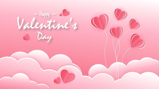 Gelukkige valentijnsdag in moderne papierstijl
