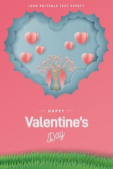 Gelukkige valentijnsdag kaart papier stijl knippen.