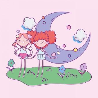 Gelukkige valentijnsdag, kleine cupids meisje maan bloemen harten liefde