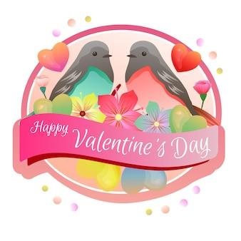 Gelukkige valentijnsdag label kleurrijke paar vogels