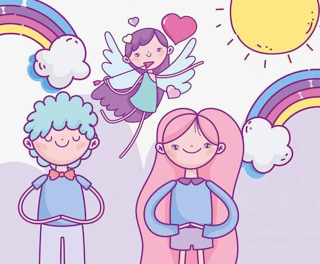 Gelukkige valentijnsdag, leuk paar en vliegende cupido met de regenboogliefde van pijlharten