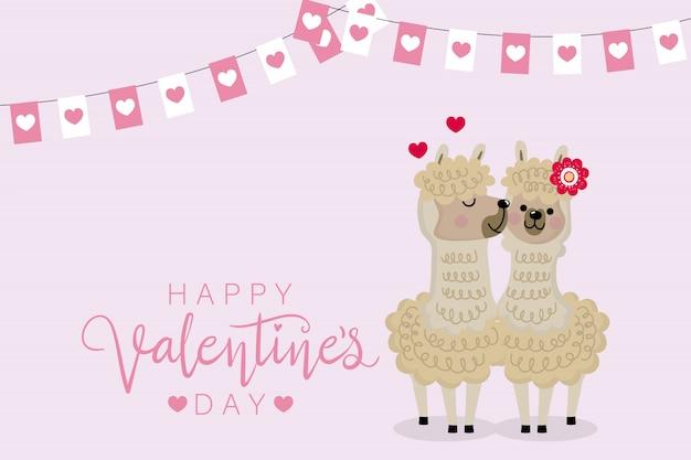 Gelukkige valentijnsdag met alpaca.