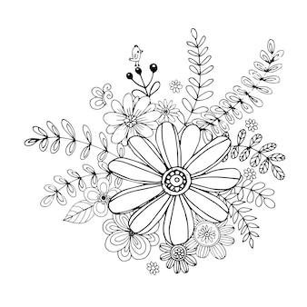 Gelukkige valentijnsdag met bloem doodle boeket kleuren boek stijl vector.