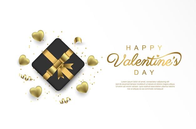 Gelukkige valentijnsdag met geschenkdoos en gouden lint