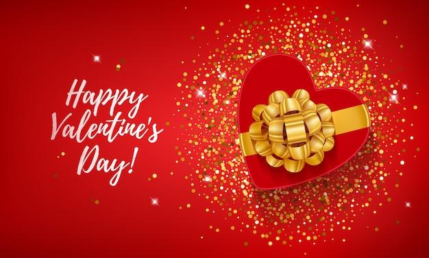 Gelukkige valentijnsdag met hart vorm geschenkdoos op gouden confetti pailletten.