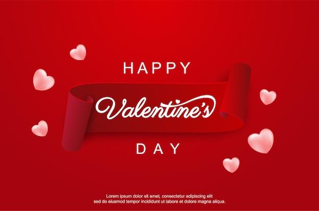 Gelukkige valentijnsdag met realistisch lint