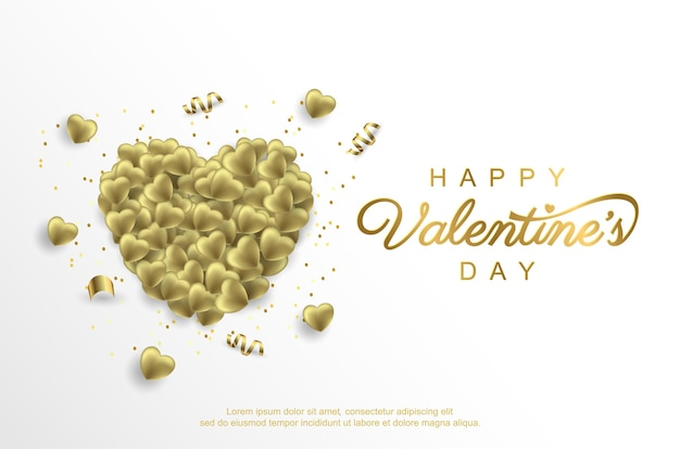 Gelukkige valentijnsdag met realistische gouden liefdeballon op wit