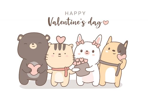 Gelukkige valentijnsdag met schattige dieren cartoon hand getrokken stijl