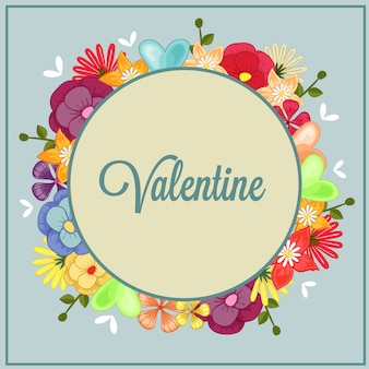 Gelukkige valentijnsdag met vogel bloementhema