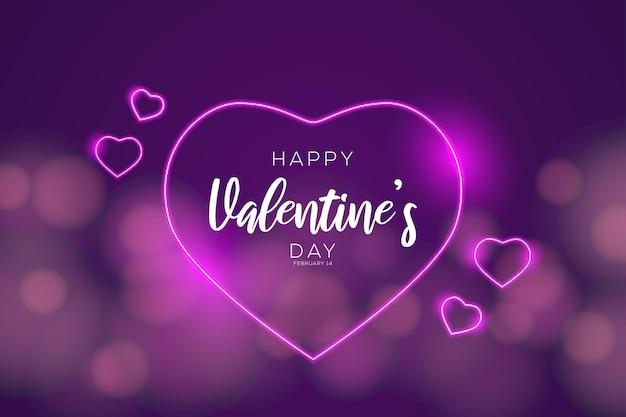 Gelukkige valentijnsdag met wazige achtergrond en neonstijl