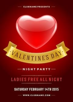 Gelukkige valentijnsdag partij flyer ontwerp sjabloon vectorillustratie en glanzende hart vorm