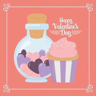 Gelukkige valentijnsdag, pot fles met hartjes en zoete cupcake