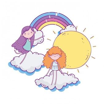 Gelukkige valentijnsdag, regenboog zonnige dag wolken en schattige cupido's illustratie