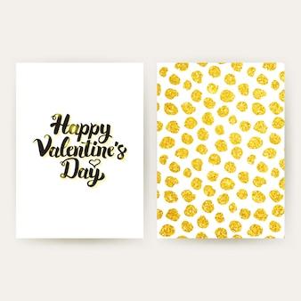 Gelukkige valentijnsdag retro posters. vectorillustratie van gouden patroonontwerp met handgeschreven letters.