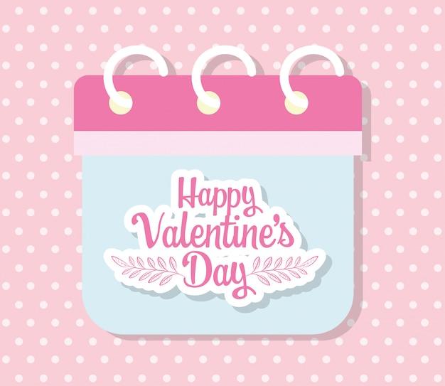 Gelukkige valentijnsdag, romantische herinnering datum kalender