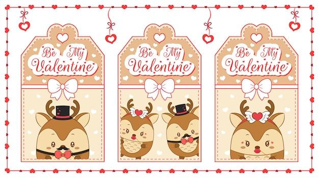 Gelukkige valentijnsdag schattige baby dier herten tekenen bruine kaarten met harten frame