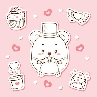 Gelukkige valentijnsdag schattige baby teddybeer tekening elementen stickers schets