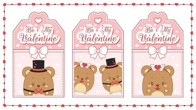 Gelukkige valentijnsdag schattige baby teddyberen cadeau-tag set