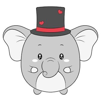 Gelukkige valentijnsdag schattige babyolifant tekening