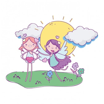 Gelukkige valentijnsdag, schattige cupids cartoon pijl hart zon wolken